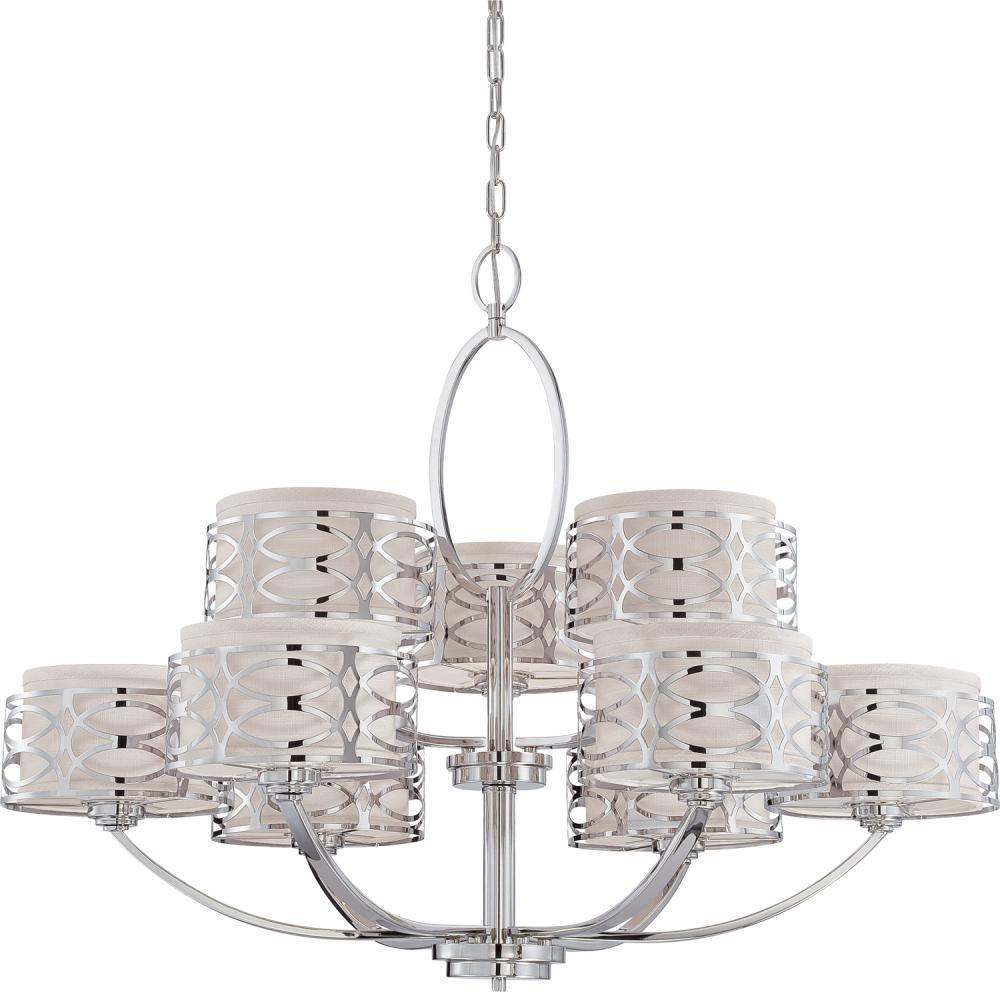 60-4629 Nuvo Harlow 3 Light Semi Flush Fixture w// Slate Gray Fabric Shade